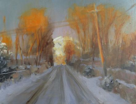 oil painting of a snowy street with golden evening light catching the trees