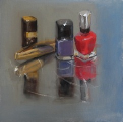 An impressionistic painting of shiny cosmetic items on a reflective surface
