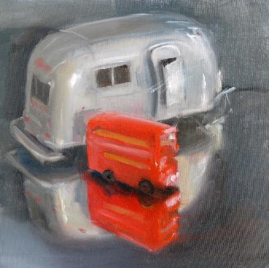 Still life oil painting of a model airstream and a model London red bus