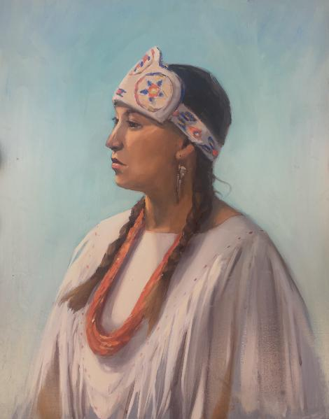 Painting of a Native American Tiwa young woman from Taos Pueblo
