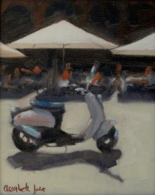 a painting of a moped parked on a French city square with cafe umbrellas behind