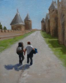 two young people visit a historic site in France