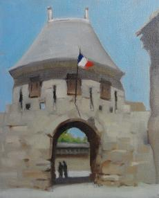 Oil painting of stone architecture arch with a French flag
