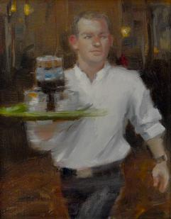 a painting of a waiter moving quickly as he works