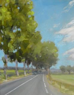 a painting of an old french road lined by poplar trees.