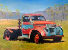 painting of a vintage gmc truck in Taos