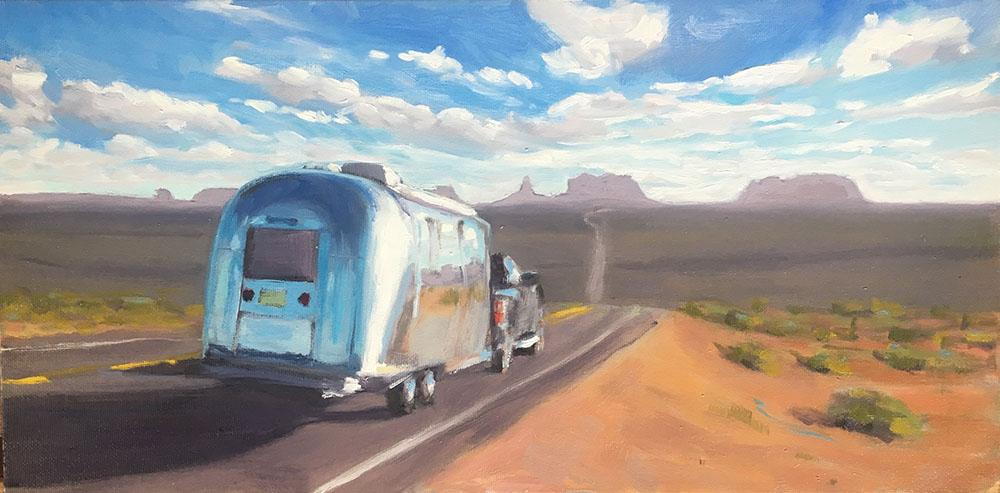 painting of a vintage airstream driving towards monument valley