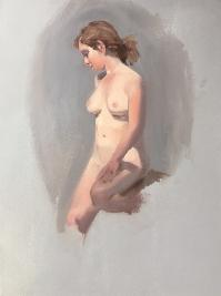 vignette painting of nude woman