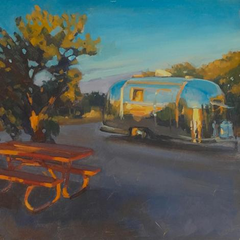 painting of a vintage airstream at a camping site with juniper and pinon trees