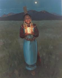 young native american girl holding a lantern at twilight