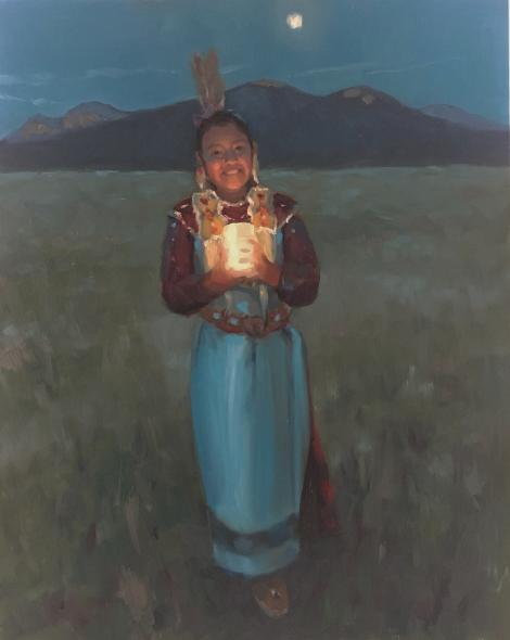 Painting of a Native American young woman holding a lantern at twilight in front of Taos Mountain