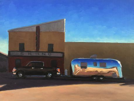 the bank and the movie theater in Happy Texas with a vintage airstream and F150 truck
