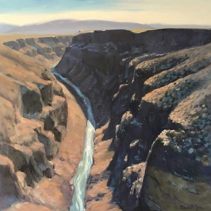 painting of the Rio Grande Gorge with snow